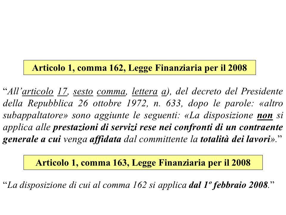 Articolo 1, comma 162, Legge Finanziaria per il 2008