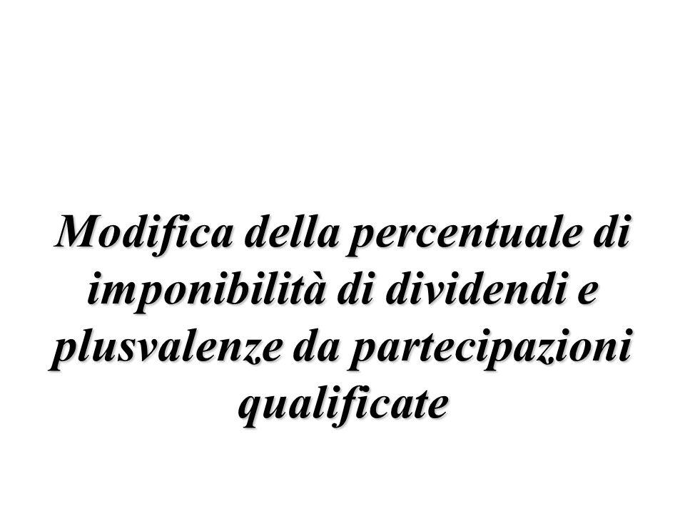 Modifica della percentuale di imponibilità di dividendi e plusvalenze da partecipazioni qualificate