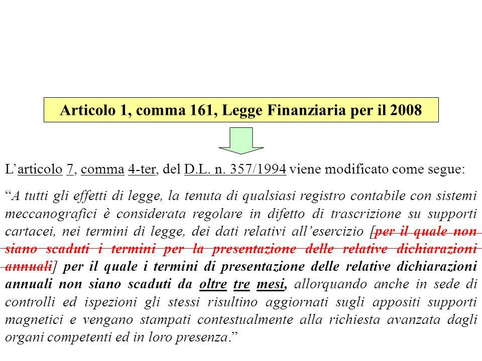 Articolo 1, comma 161, Legge Finanziaria per il 2008
