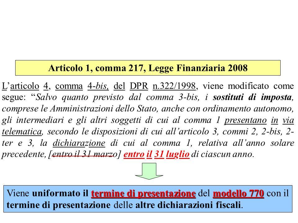 Articolo 1, comma 217, Legge Finanziaria 2008