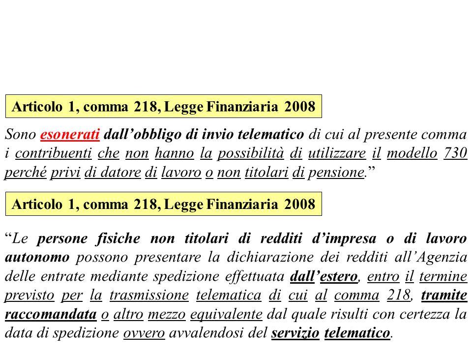 Articolo 1, comma 218, Legge Finanziaria 2008