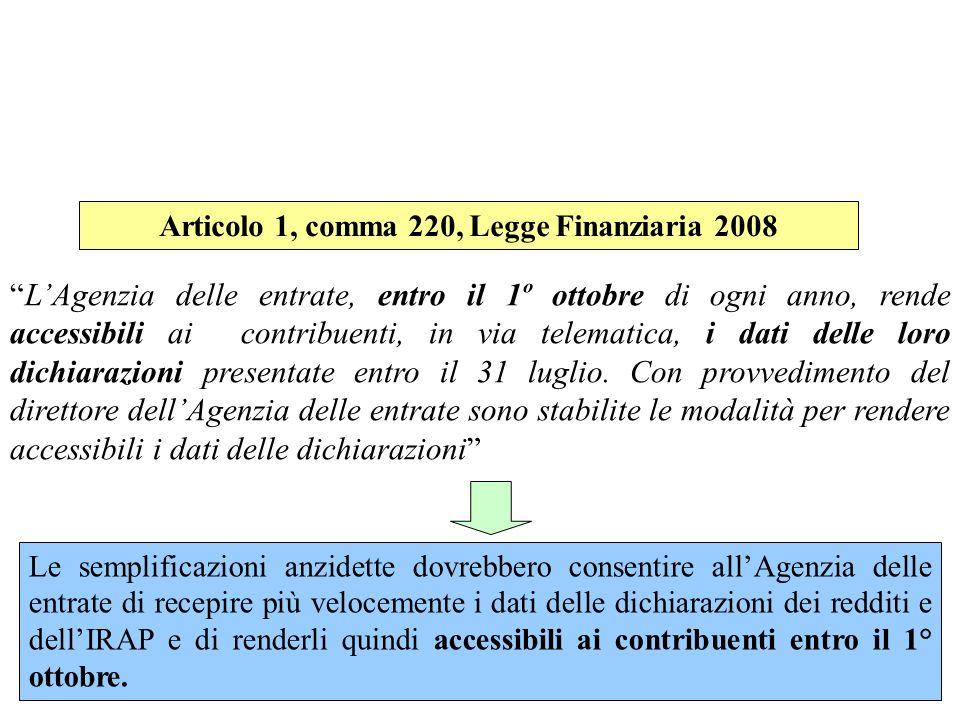 Articolo 1, comma 220, Legge Finanziaria 2008