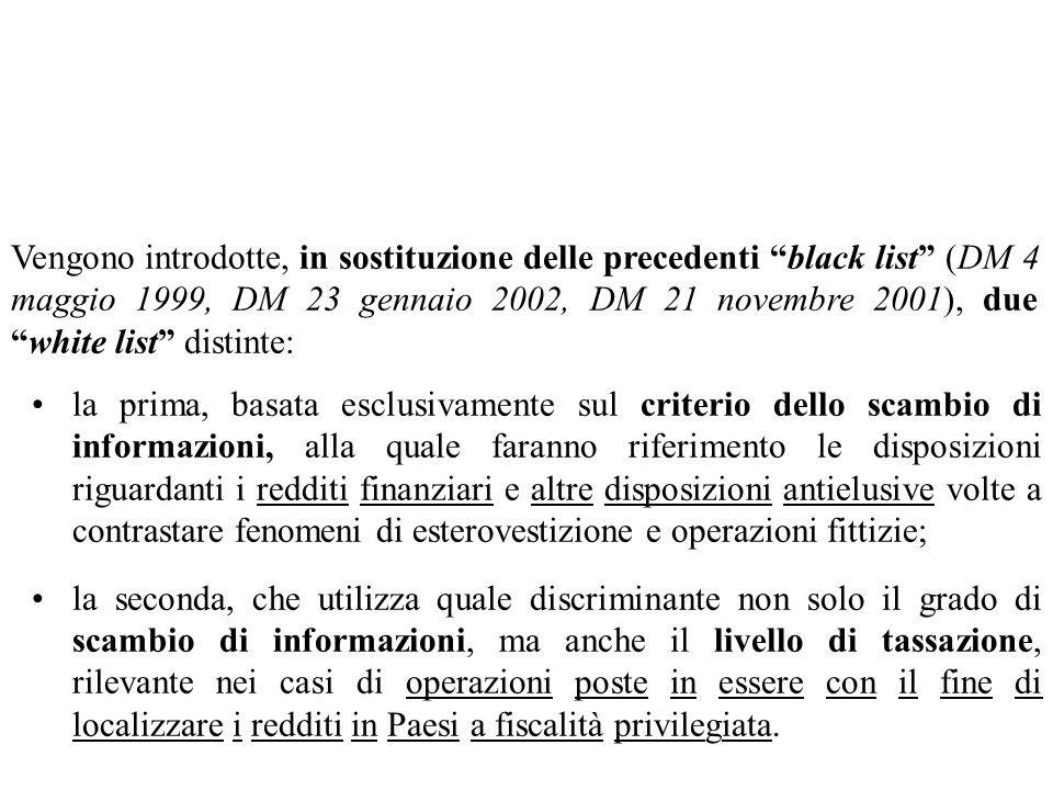 Vengono introdotte, in sostituzione delle precedenti black list (DM 4 maggio 1999, DM 23 gennaio 2002, DM 21 novembre 2001), due white list distinte: