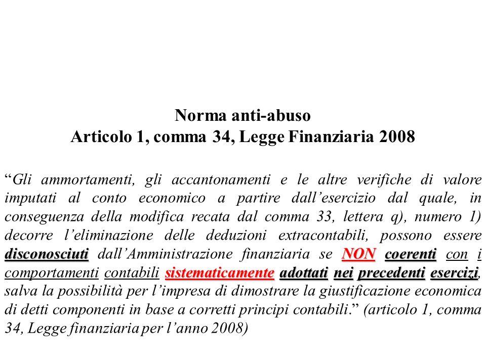 Articolo 1, comma 34, Legge Finanziaria 2008