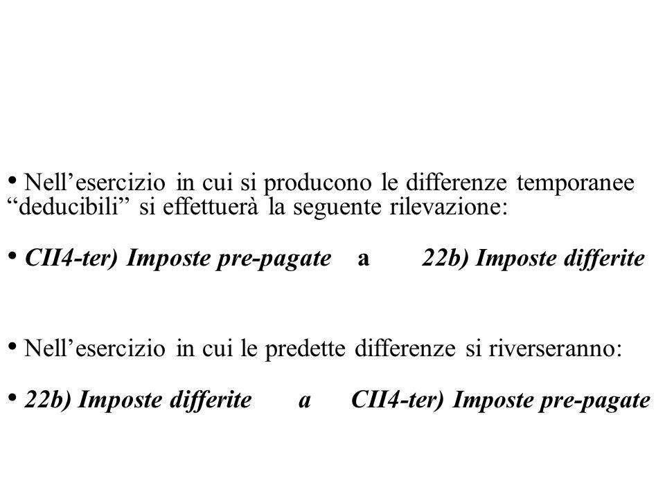 Nell'esercizio in cui si producono le differenze temporanee deducibili si effettuerà la seguente rilevazione: