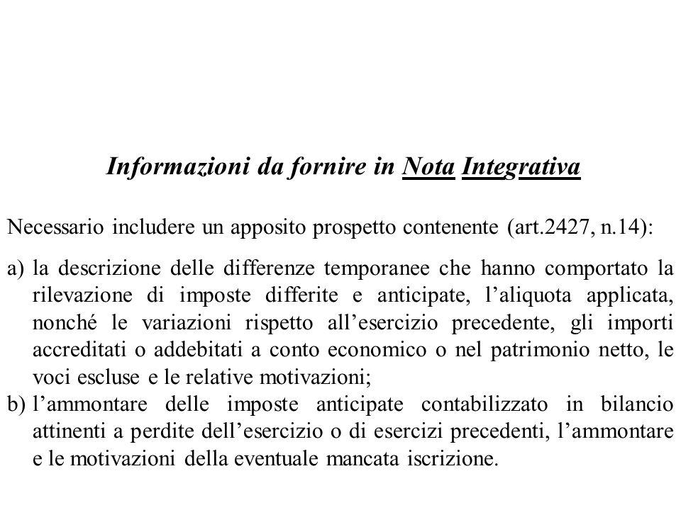 Informazioni da fornire in Nota Integrativa