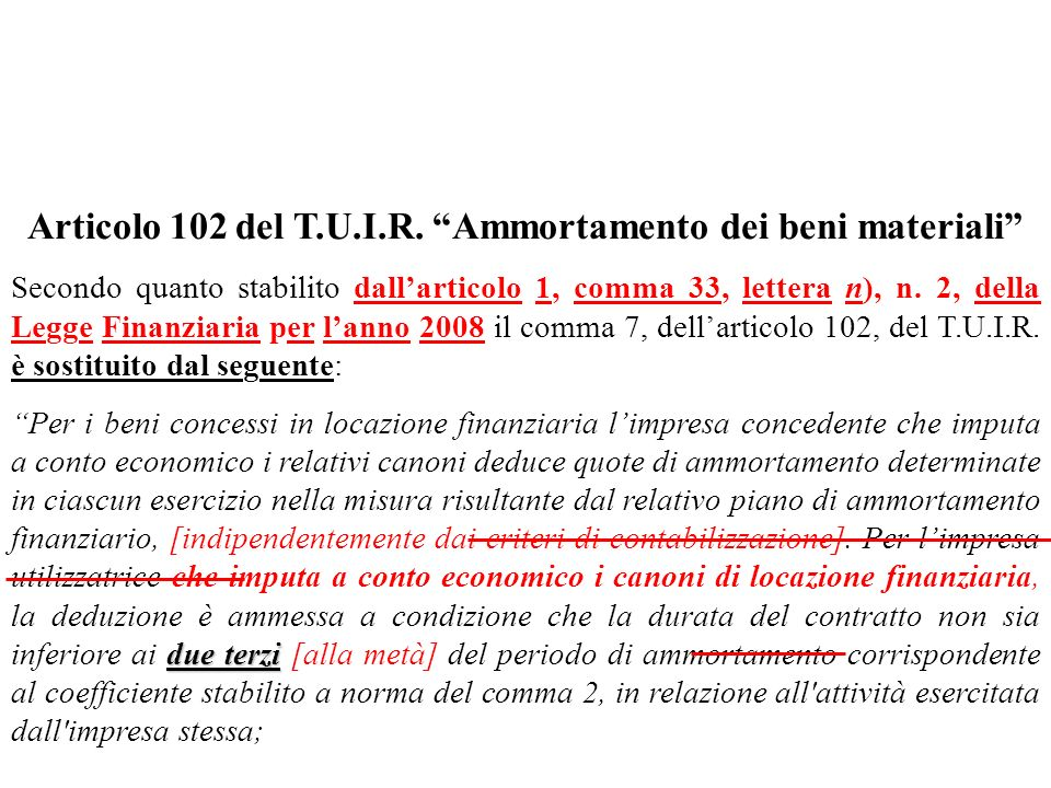 Articolo 102 del T.U.I.R. Ammortamento dei beni materiali