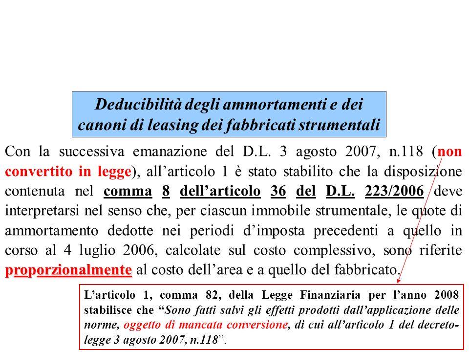 Deducibilità degli ammortamenti e dei canoni di leasing dei fabbricati strumentali