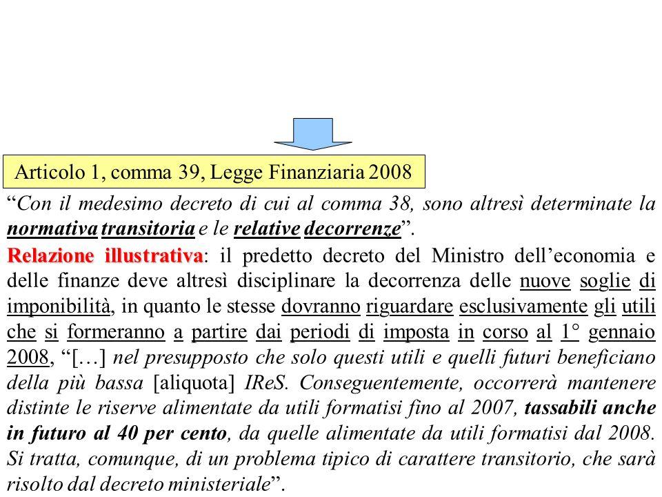 Articolo 1, comma 39, Legge Finanziaria 2008