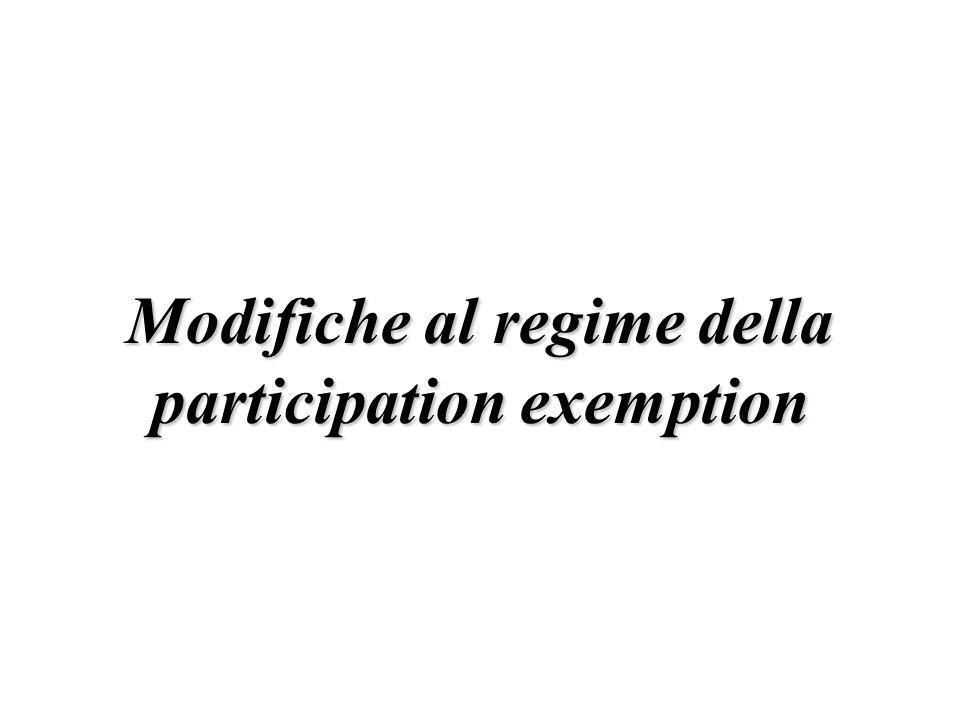 Modifiche al regime della participation exemption