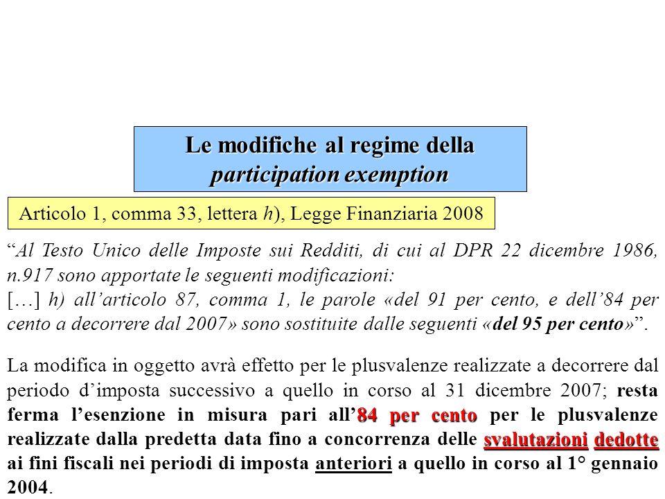 Le modifiche al regime della participation exemption
