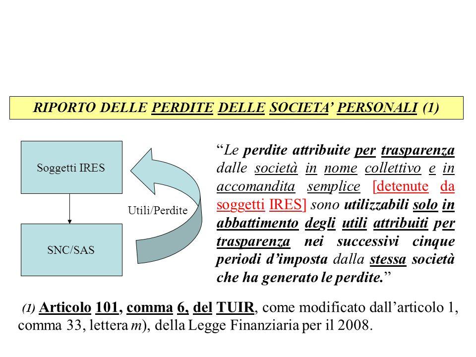RIPORTO DELLE PERDITE DELLE SOCIETA' PERSONALI (1)