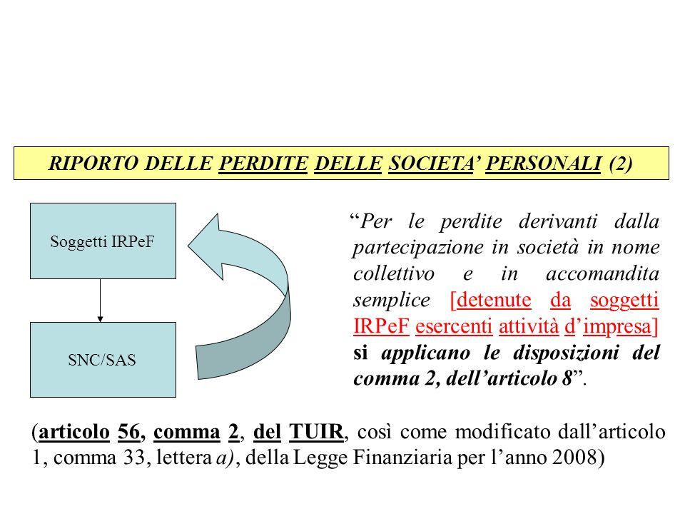 RIPORTO DELLE PERDITE DELLE SOCIETA' PERSONALI (2)