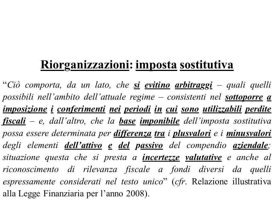 Riorganizzazioni: imposta sostitutiva