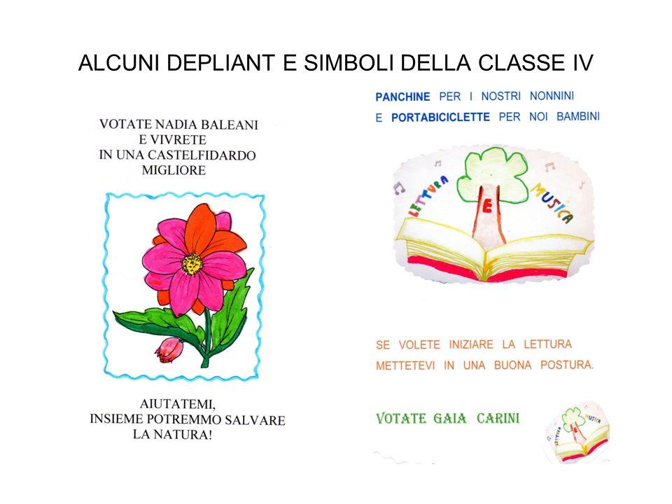 ALCUNI DEPLIANT E SIMBOLI DELLA CLASSE IV