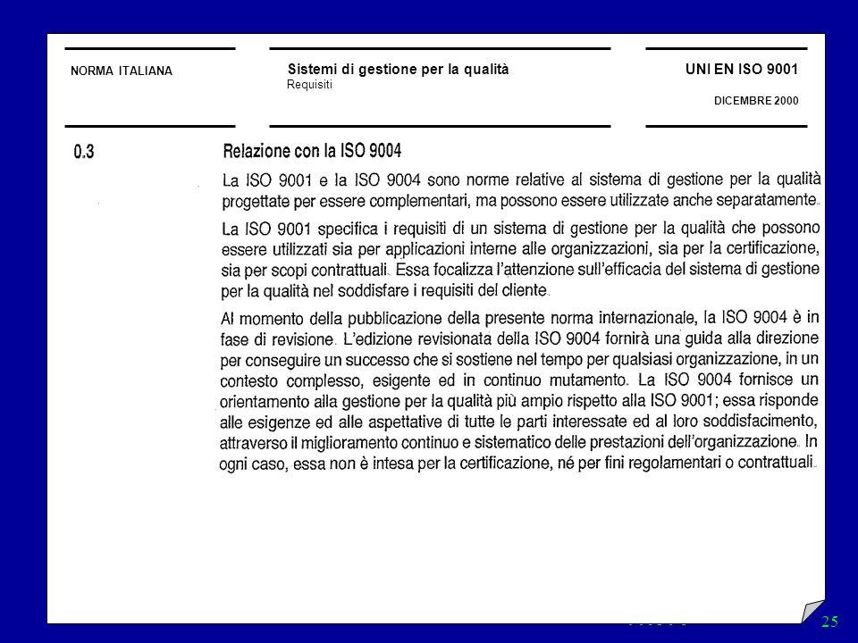 NORMA ITALIANA Sistemi di gestione per la qualità. Requisiti. UNI EN ISO 9001. DICEMBRE 2000. 0.3 Relazione con la ISO 9004.