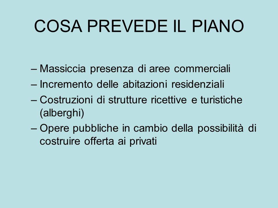 COSA PREVEDE IL PIANO Massiccia presenza di aree commerciali