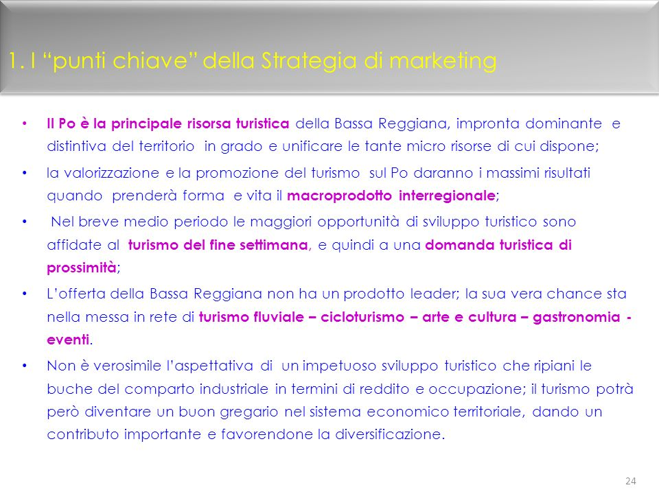 1. I punti chiave della Strategia di marketing