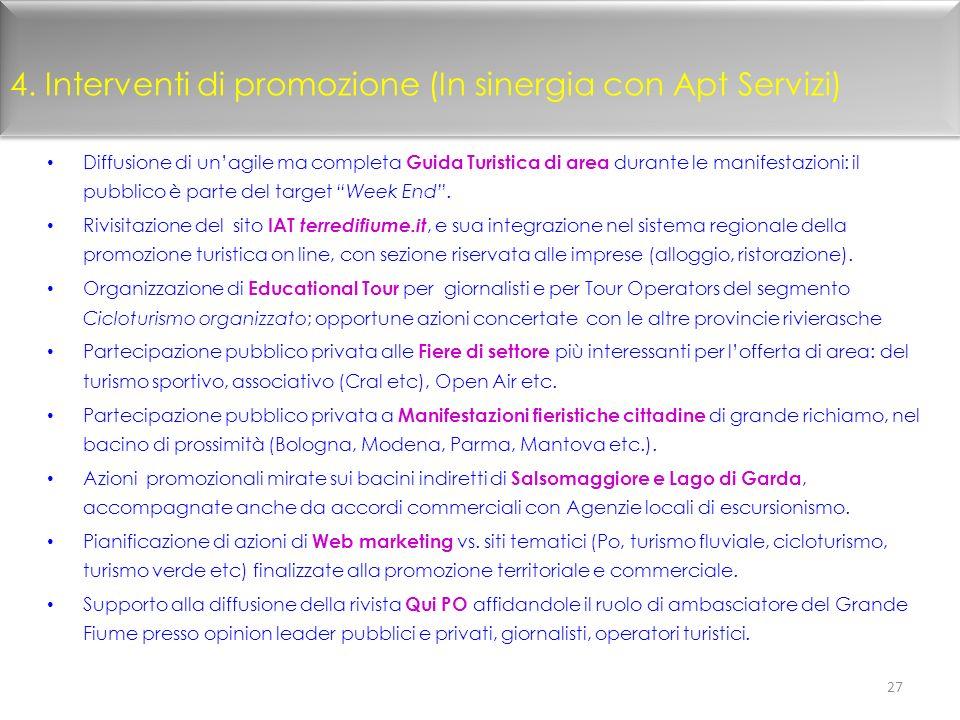 4. Interventi di promozione (In sinergia con Apt Servizi)
