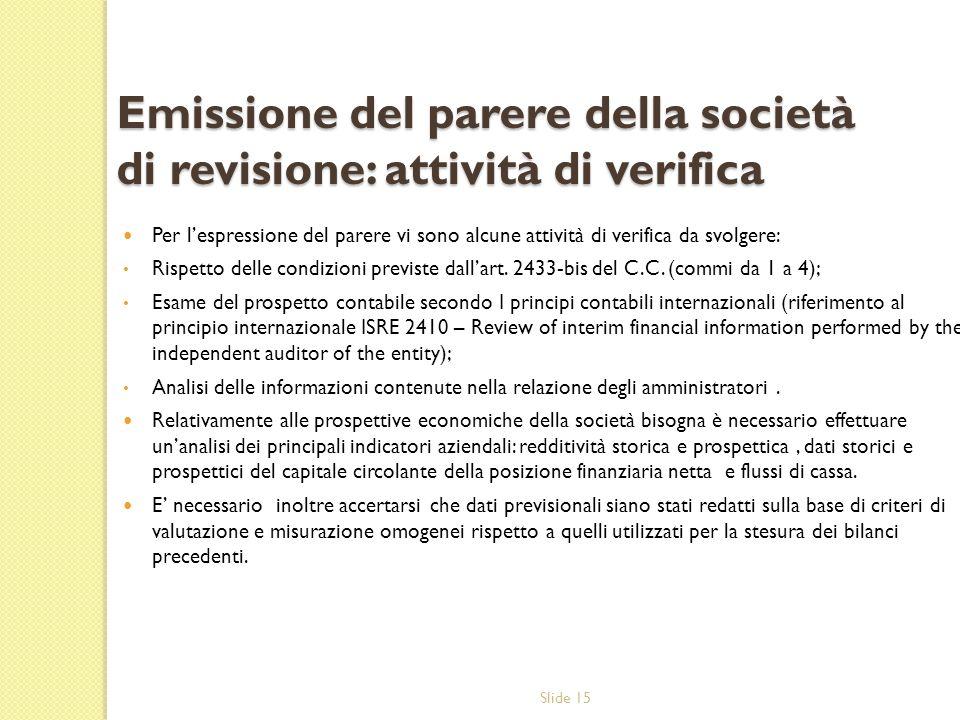 Emissione del parere della società di revisione: attività di verifica