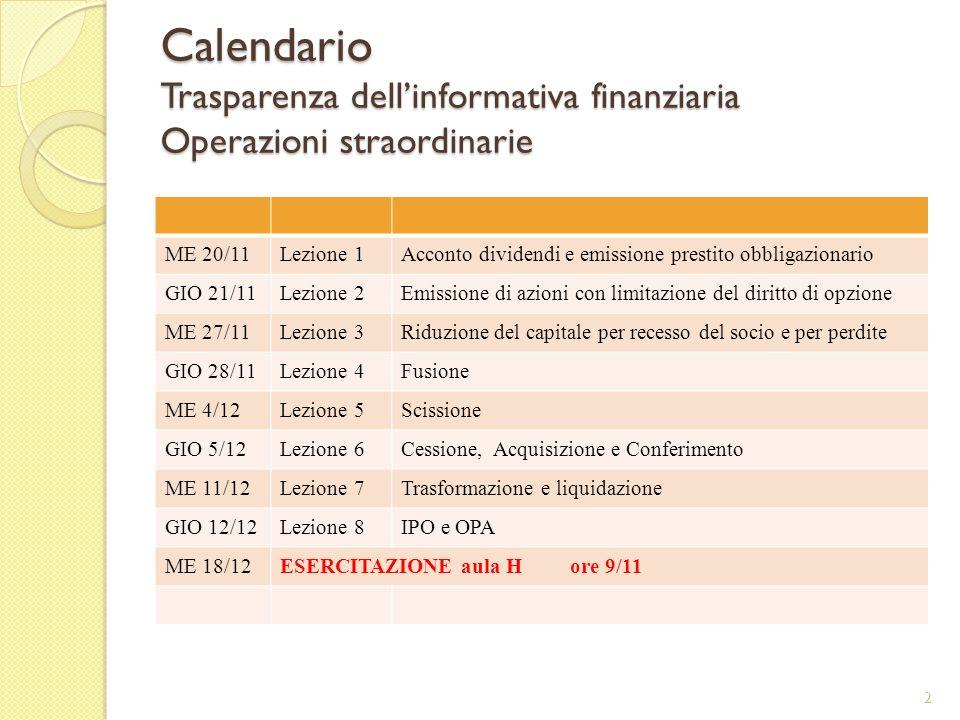 Calendario Trasparenza dell'informativa finanziaria Operazioni straordinarie