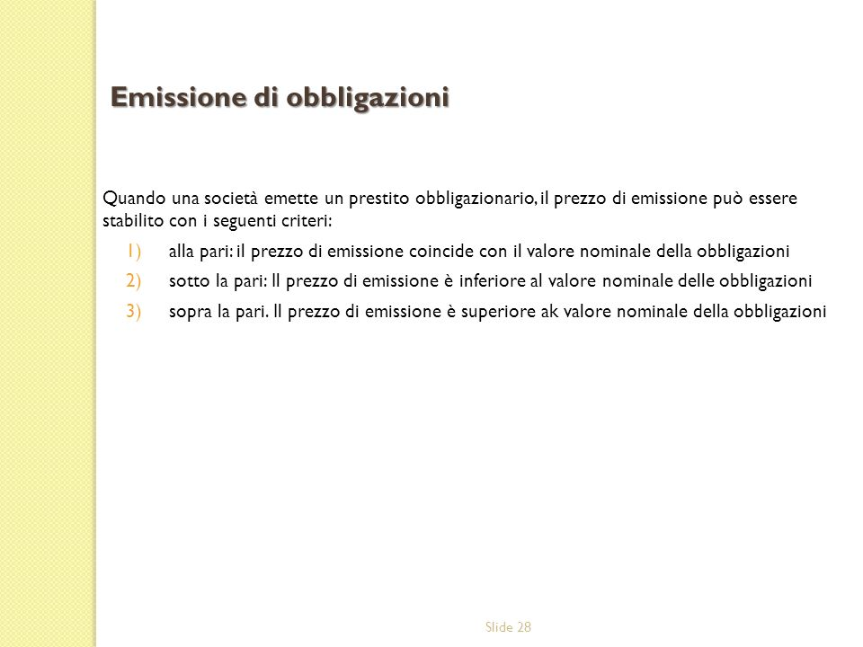 Emissione di obbligazioni