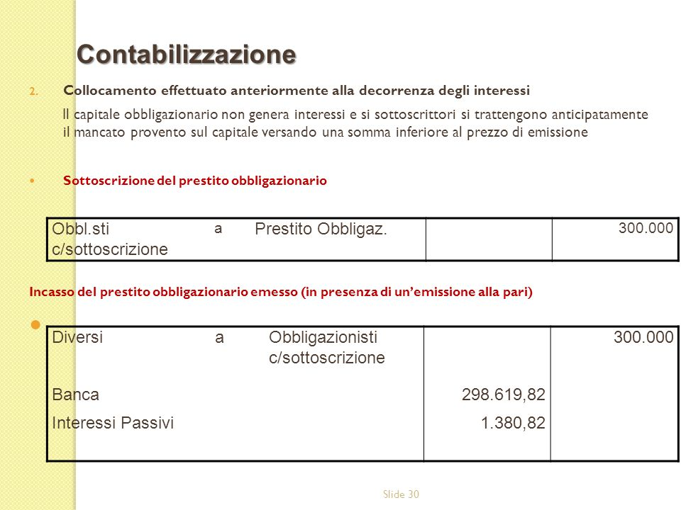 Contabilizzazione Obbl.sti c/sottoscrizione Prestito Obbligaz. Diversi