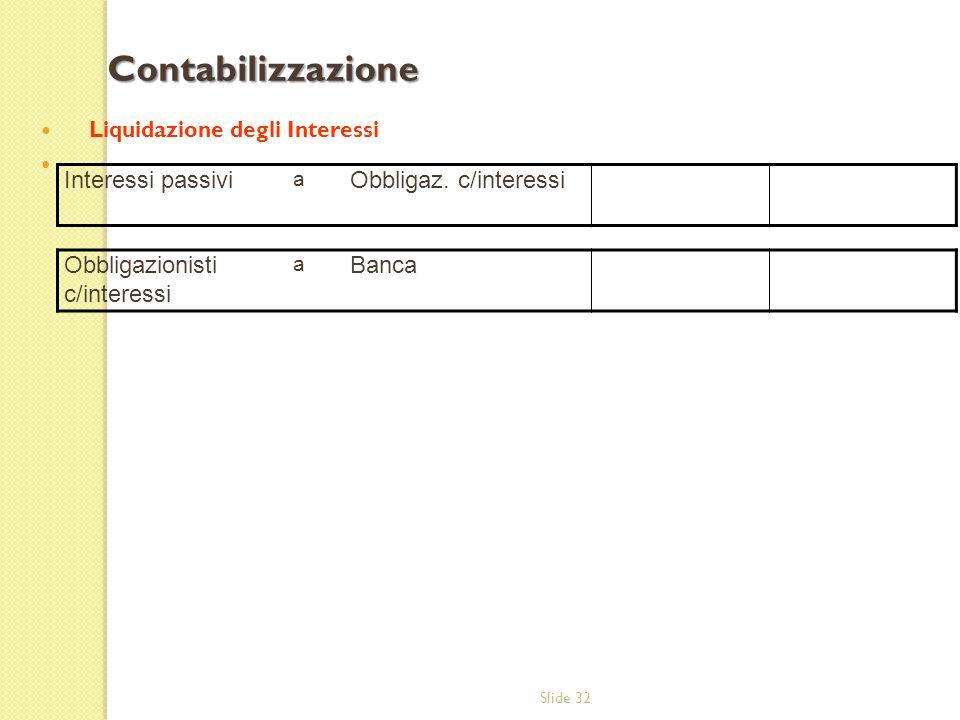 Contabilizzazione Interessi passivi Obbligaz. c/interessi