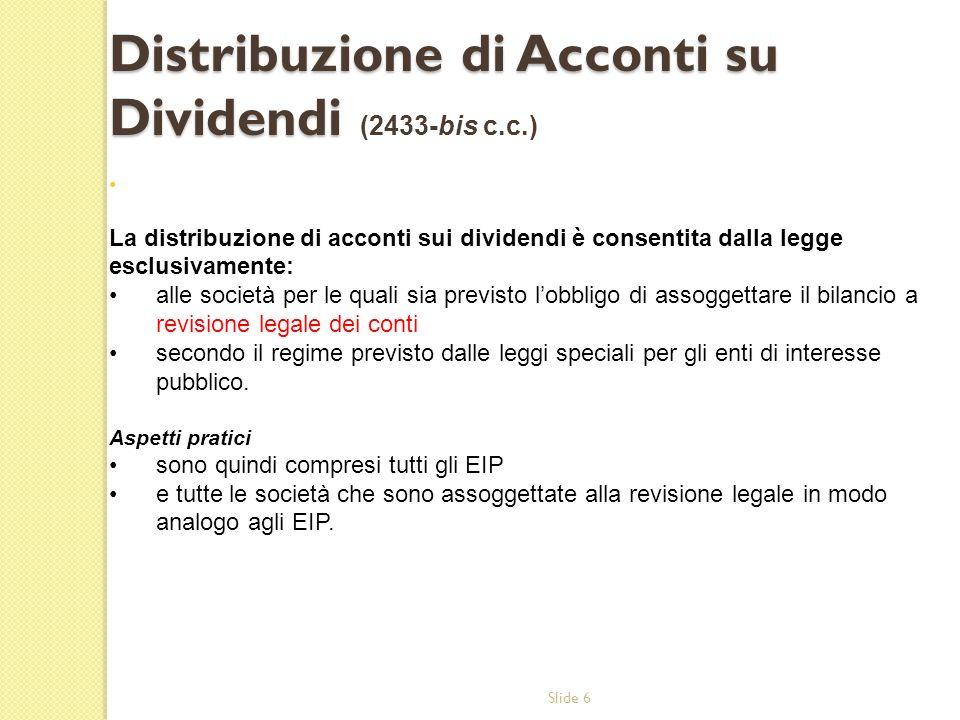 Distribuzione di Acconti su Dividendi (2433-bis c.c.)