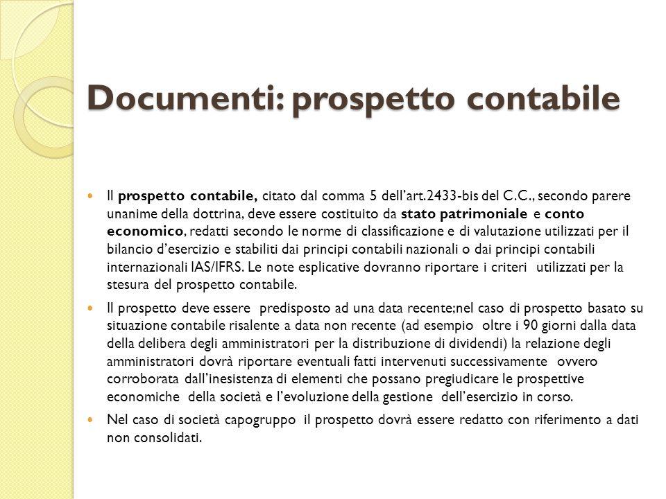 Documenti: prospetto contabile