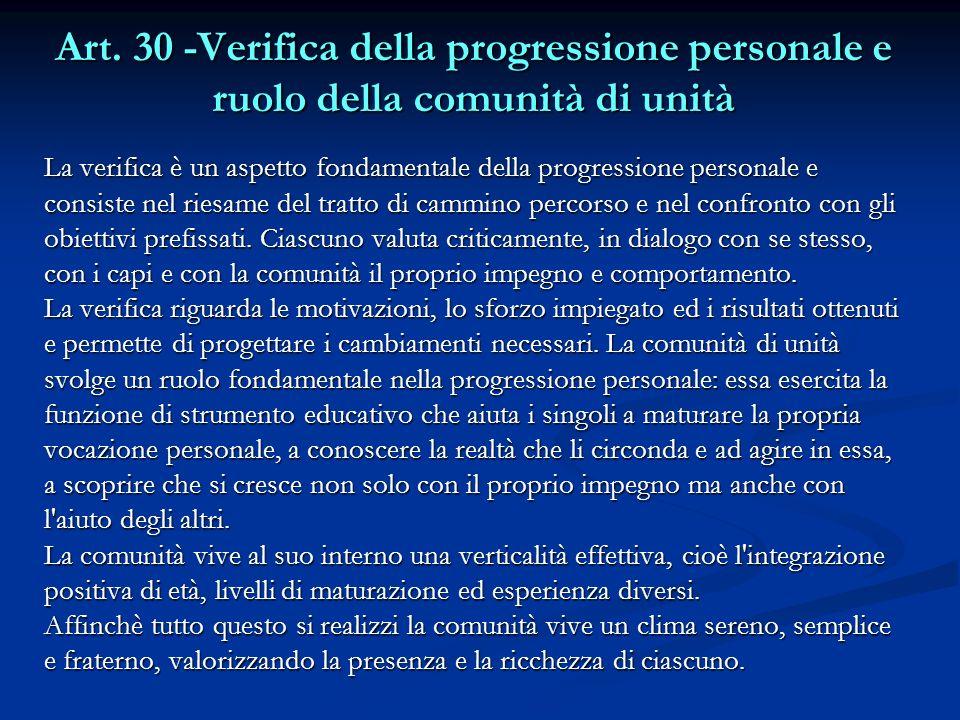 Art. 30 -Verifica della progressione personale e ruolo della comunità di unità