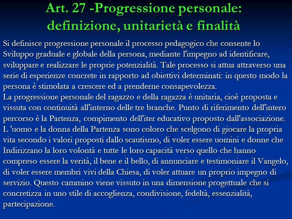 Art. 27 -Progressione personale: definizione, unitarietà e finalità
