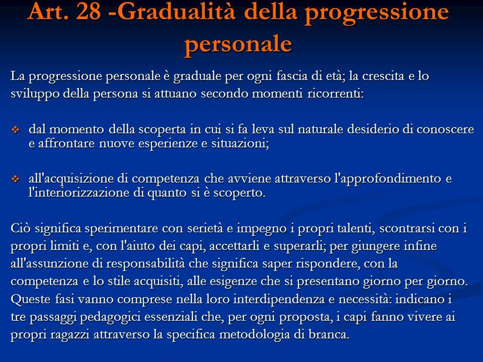 Art. 28 -Gradualità della progressione personale