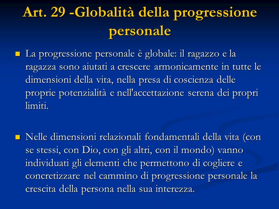 Art. 29 -Globalità della progressione personale