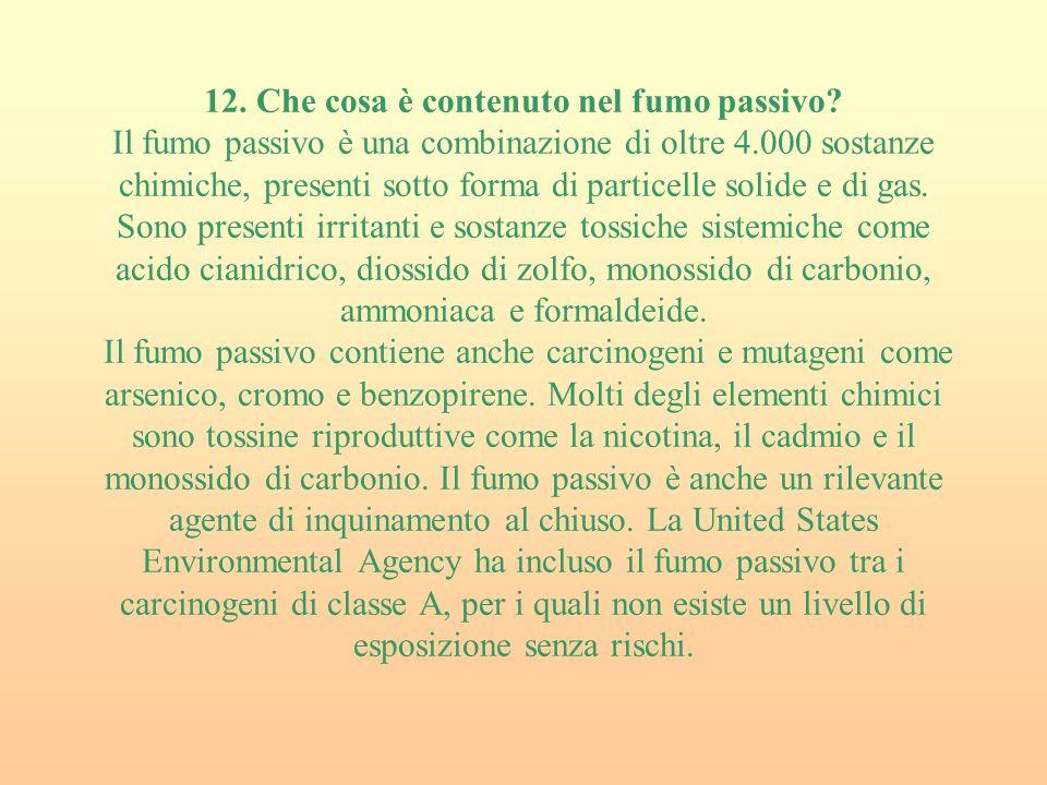 12. Che cosa è contenuto nel fumo passivo