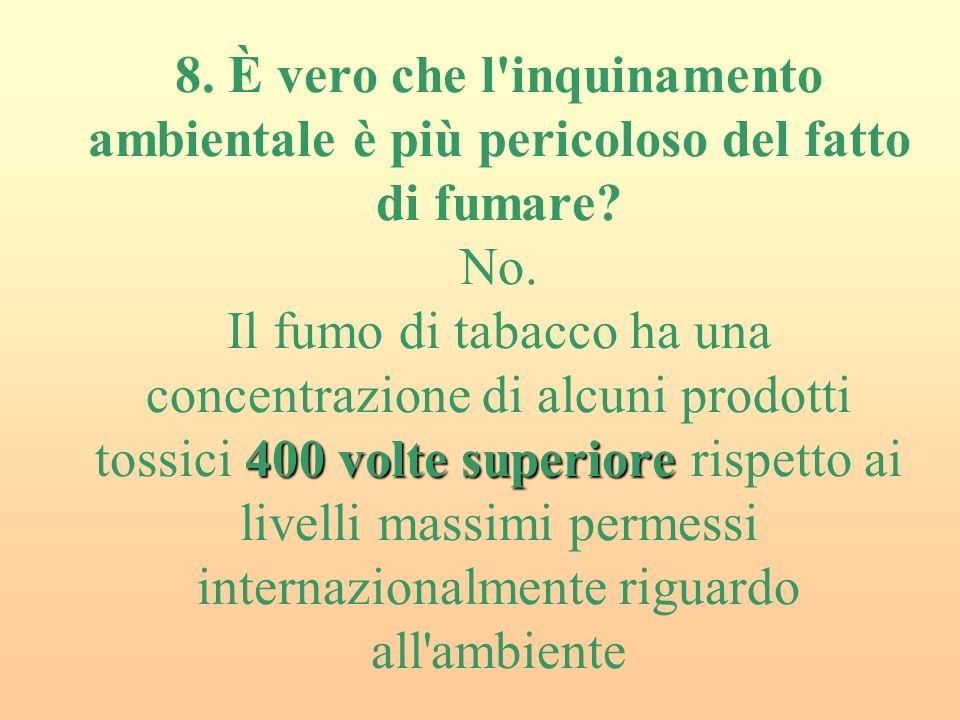 8. È vero che l inquinamento ambientale è più pericoloso del fatto di fumare.