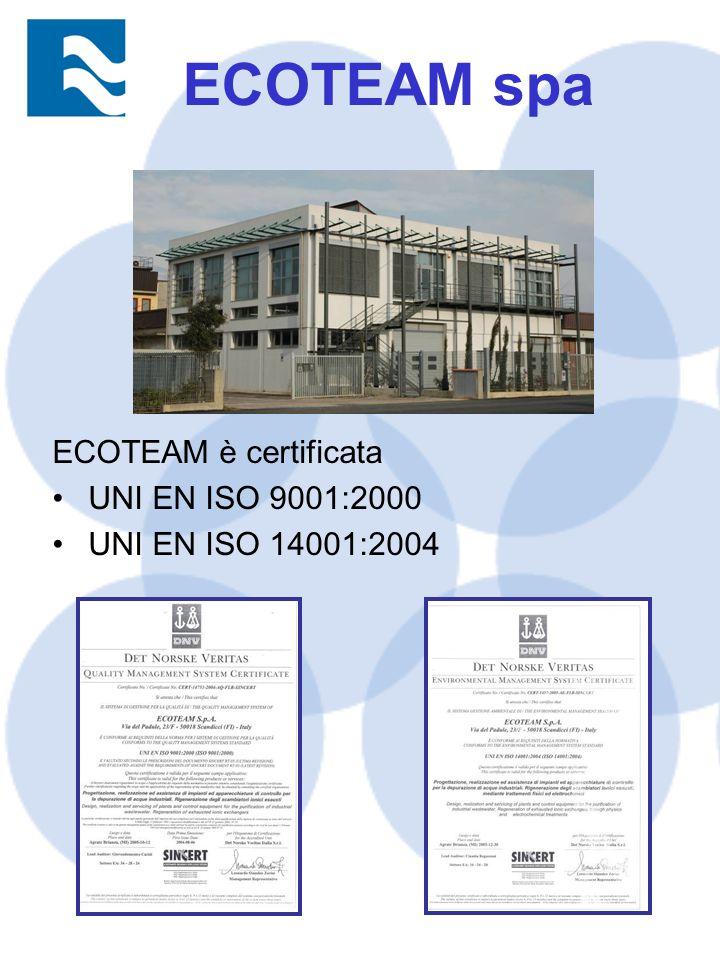 ECOTEAM spa ECOTEAM è certificata UNI EN ISO 9001:2000