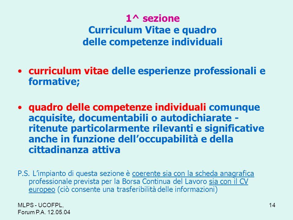 1^ sezione Curriculum Vitae e quadro delle competenze individuali