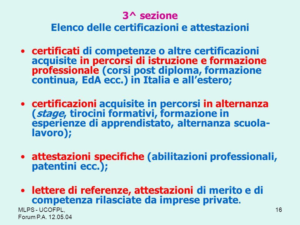 3^ sezione Elenco delle certificazioni e attestazioni