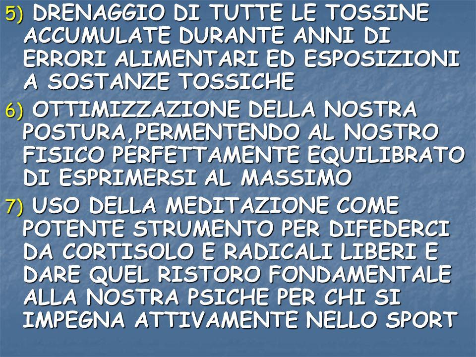 5) DRENAGGIO DI TUTTE LE TOSSINE ACCUMULATE DURANTE ANNI DI ERRORI ALIMENTARI ED ESPOSIZIONI A SOSTANZE TOSSICHE
