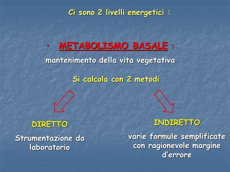 METABOLISMO BASALE : Ci sono 2 livelli energetici :