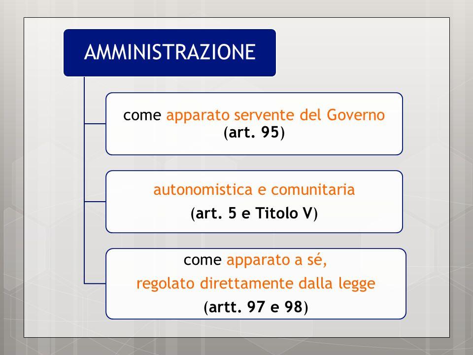AMMINISTRAZIONE come apparato servente del Governo (art. 95)