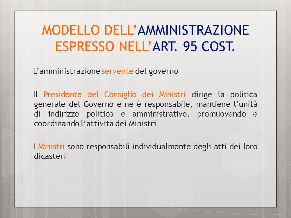MODELLO DELL'AMMINISTRAZIONE ESPRESSO NELL'ART. 95 COST.
