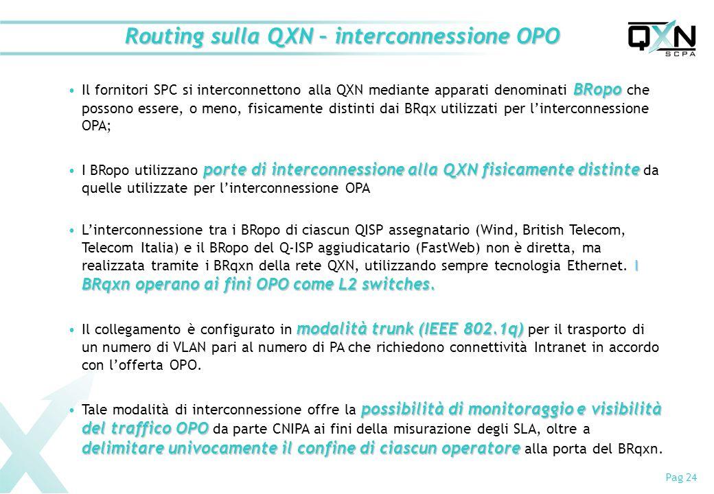 Routing sulla QXN – interconnessione OPO