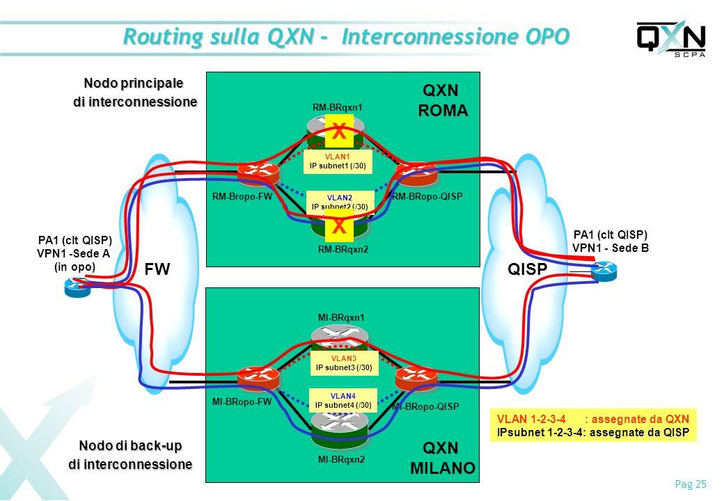 Routing sulla QXN - Interconnessione OPO
