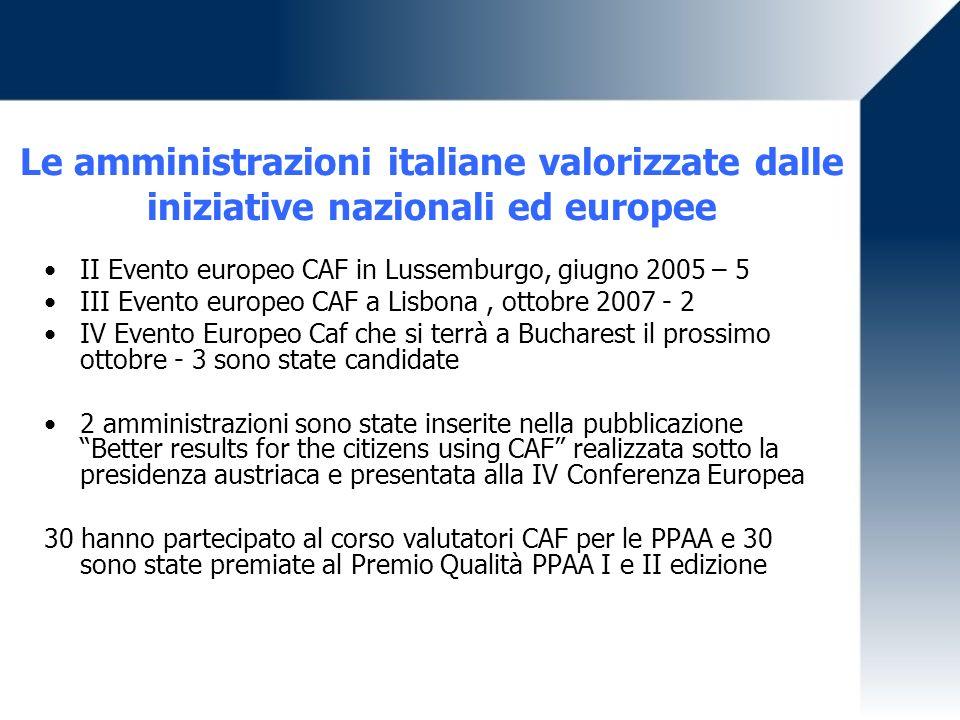 Le amministrazioni italiane valorizzate dalle iniziative nazionali ed europee