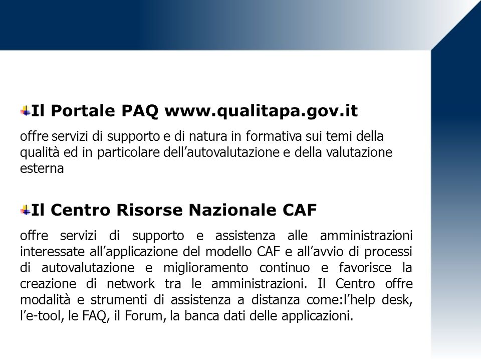 Il Portale PAQ www.qualitapa.gov.it