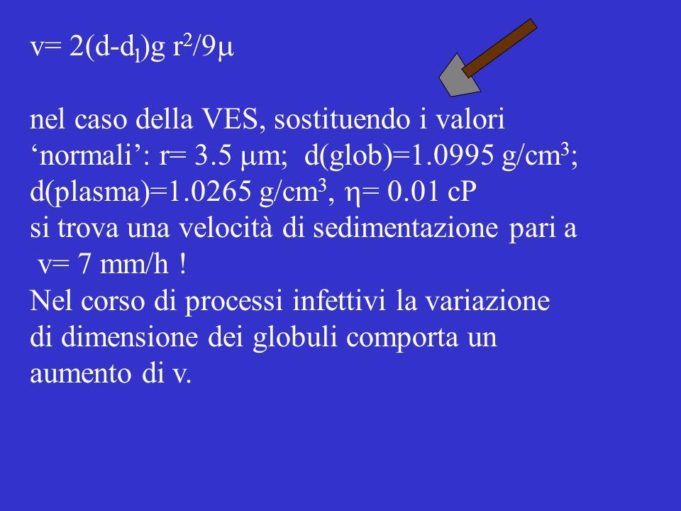 v= 2(d-dl)g r2/9m nel caso della VES, sostituendo i valori. 'normali': r= 3.5 mm; d(glob)=1.0995 g/cm3;