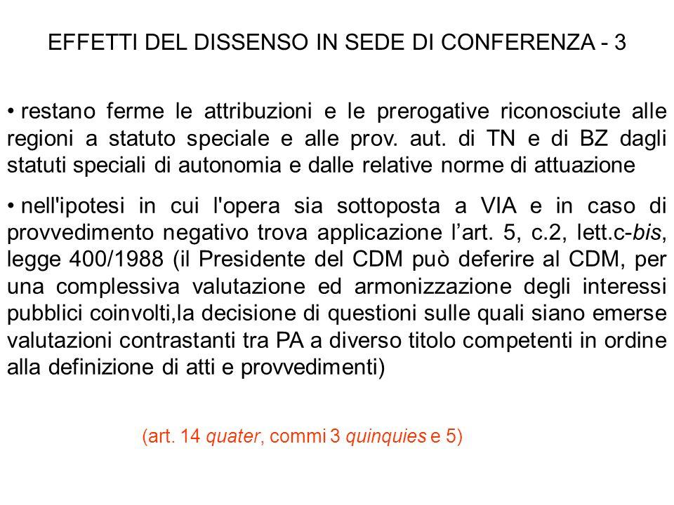 EFFETTI DEL DISSENSO IN SEDE DI CONFERENZA - 3