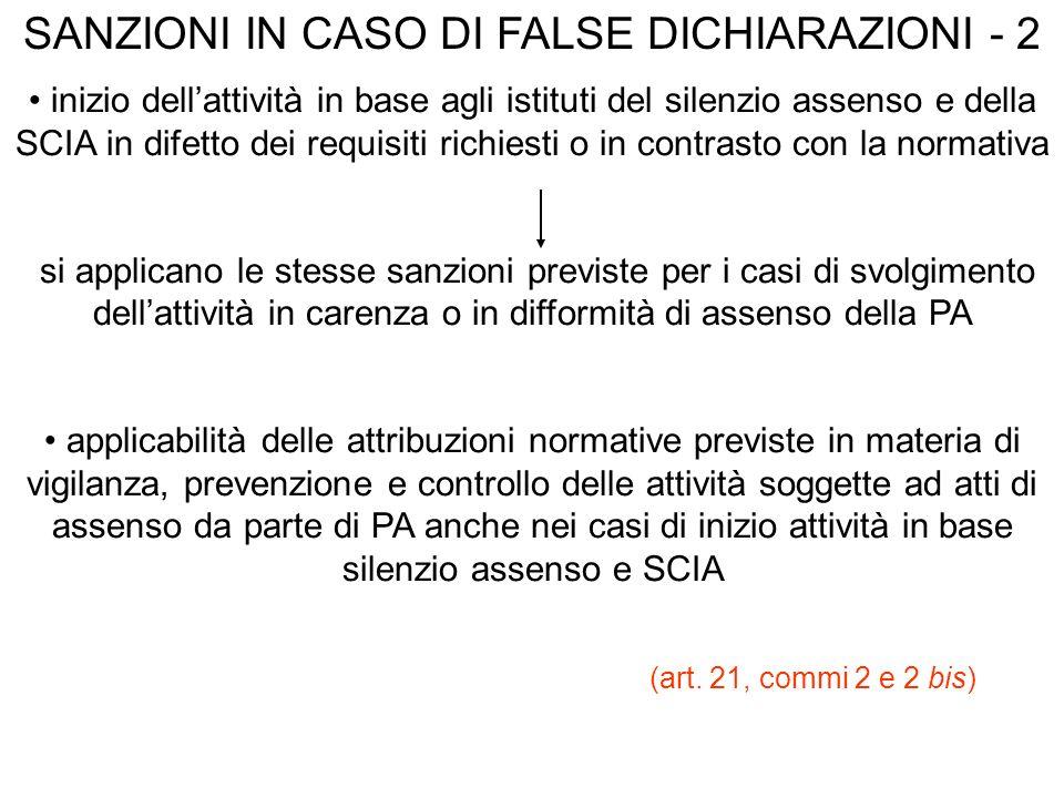 SANZIONI IN CASO DI FALSE DICHIARAZIONI - 2
